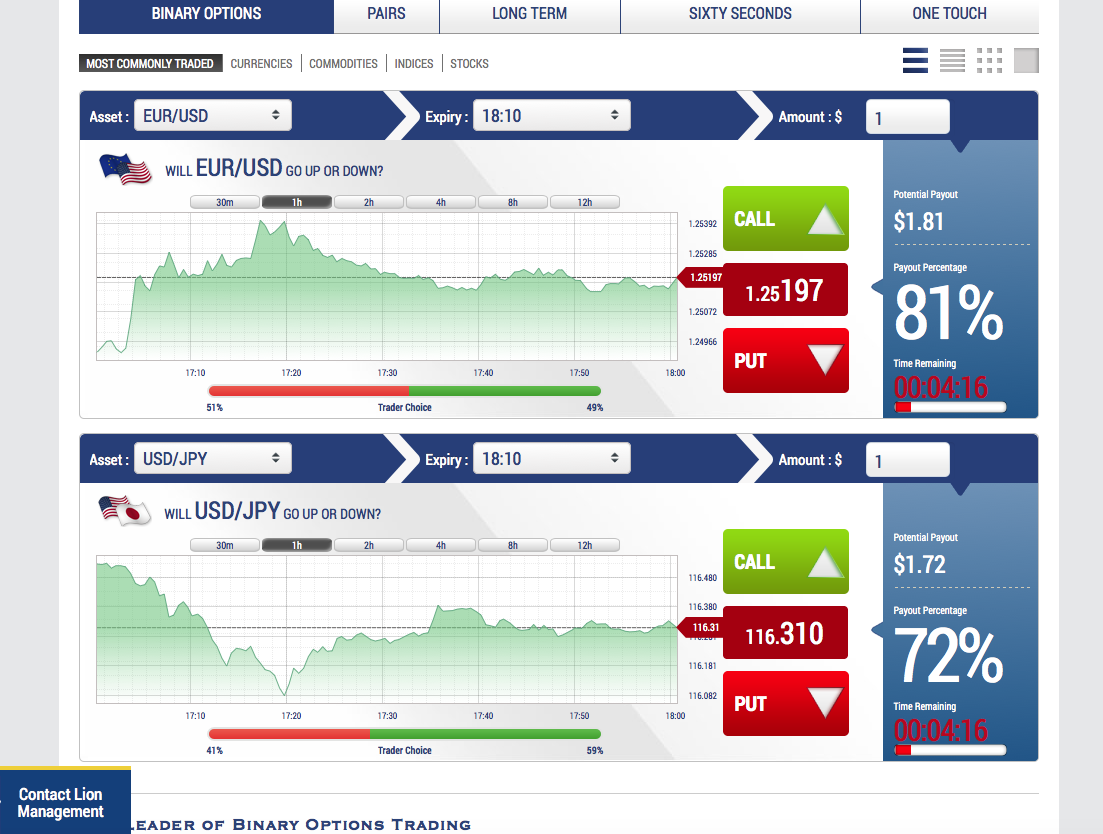 Binary options market value